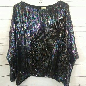 Vintage sequin and beaded dolman sleeve top